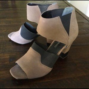 Franco Sarto Taupe & Black Peep Toe Leather Heels
